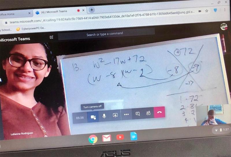 Teacher teaching student Math using Microsoft Teams